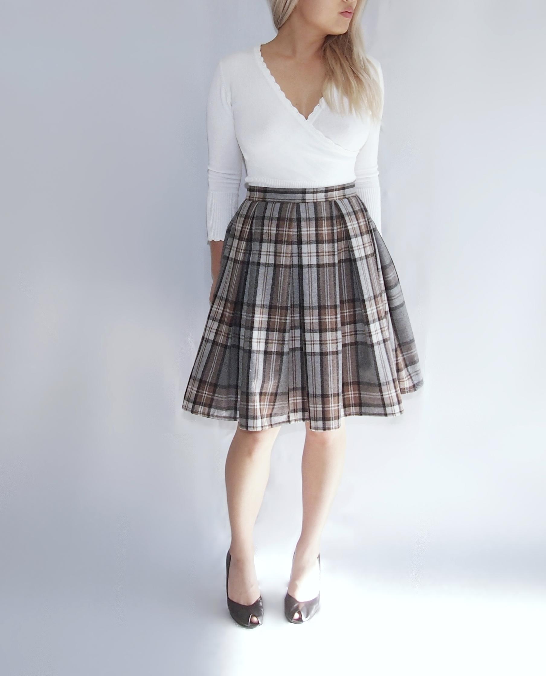 f4863cd08c Grey Pleated Wool Skirt   Saddha