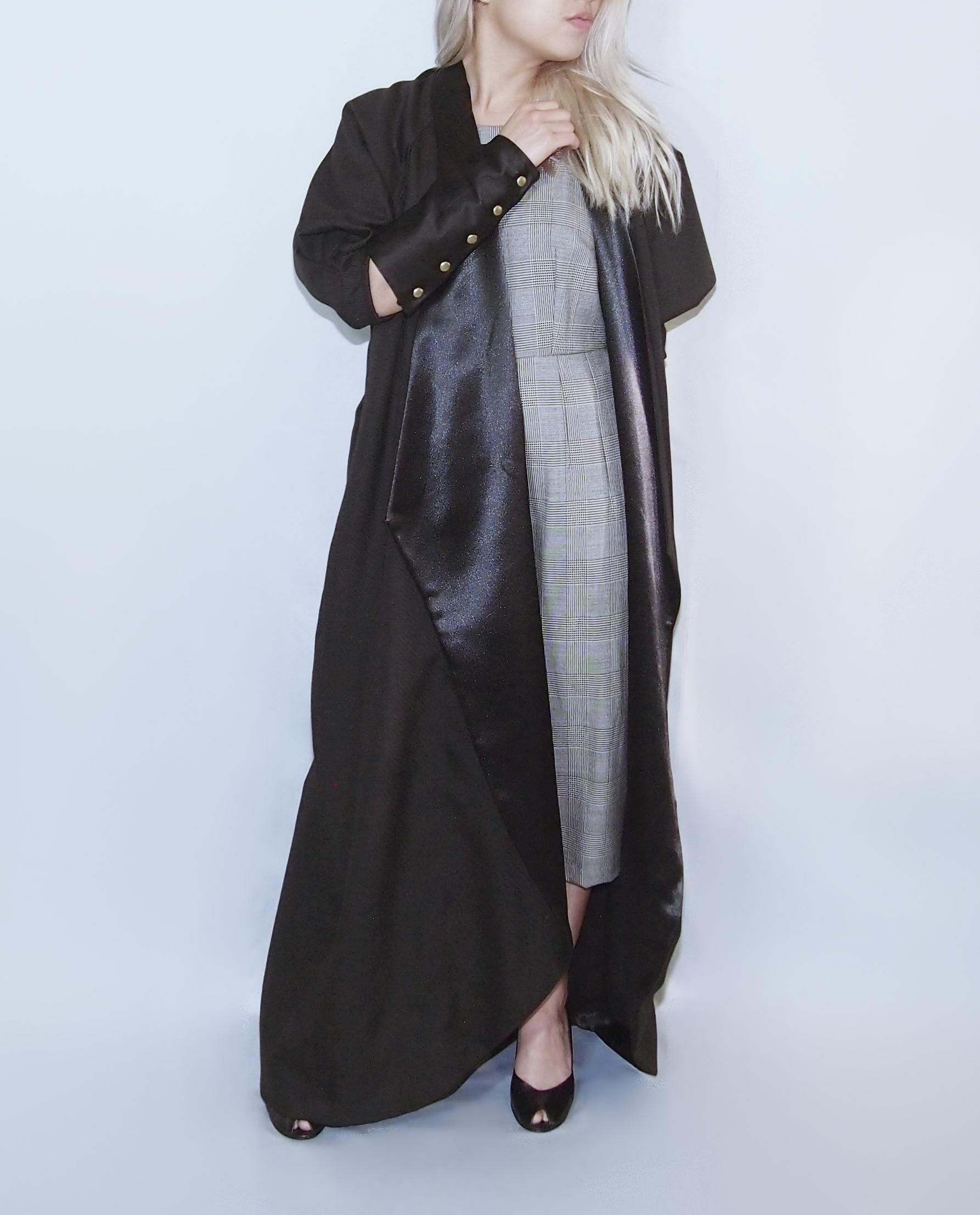 7e07690053923 NATAN' Long Black Satin Robe Jacket -